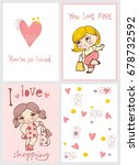 vector cards with cute fashion... | Shutterstock .eps vector #678732592