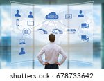 manager looking at augmented... | Shutterstock . vector #678733642