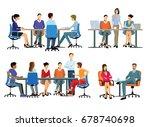 office work   teamwork  3d... | Shutterstock . vector #678740698