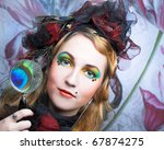 creative lady in hat with... | Shutterstock . vector #67874275