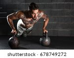 handsome muscular man doing... | Shutterstock . vector #678749272