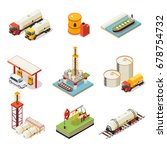 isometric oil industry set | Shutterstock .eps vector #678754732