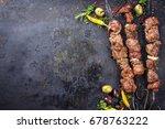 traditional russian shashlik on ... | Shutterstock . vector #678763222