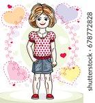 beautiful happy little red... | Shutterstock .eps vector #678772828