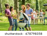 two couples laughing during... | Shutterstock . vector #678798358