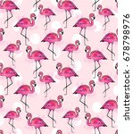 pink flamingo watercolor pattern | Shutterstock . vector #678798976