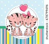greeting card with two cute... | Shutterstock .eps vector #678799696