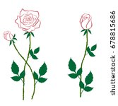 rose with buds contour for used ... | Shutterstock .eps vector #678815686