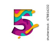 paper cut number five letter.... | Shutterstock .eps vector #678816232