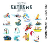 set of water extreme sports... | Shutterstock .eps vector #678821482