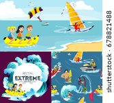 set of water extreme sports... | Shutterstock .eps vector #678821488