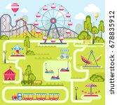 amusement park attractions...   Shutterstock .eps vector #678835912
