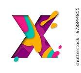 paper cut letter x. realistic... | Shutterstock .eps vector #678844855