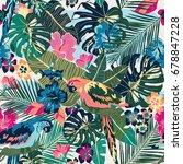 seamless background   parrots ... | Shutterstock .eps vector #678847228
