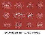 sun burst vintage shapes... | Shutterstock . vector #678849988
