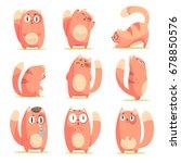 Cute Red Cartoon Cat Character...