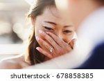 look over groom's shoulder at... | Shutterstock . vector #678858385