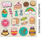 set of fashion patches  cute... | Shutterstock .eps vector #678858448
