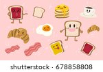 vector set of cute breakfast... | Shutterstock .eps vector #678858808