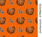 orange paisley seamless... | Shutterstock .eps vector #678864226