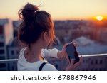 stylish girl with the phone is... | Shutterstock . vector #678867946