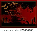 red halloween card with...   Shutterstock .eps vector #678884986