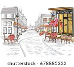 series of street views in the... | Shutterstock .eps vector #678885322