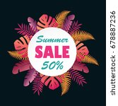 sale banner or poster with palm ... | Shutterstock . vector #678887236