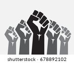 raised five fists set... | Shutterstock .eps vector #678892102
