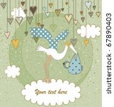 baby arrival announcement card | Shutterstock .eps vector #67890403