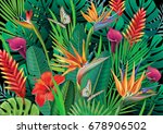 background with exotic tropical ... | Shutterstock .eps vector #678906502