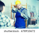 client woman is showing the... | Shutterstock . vector #678910672