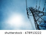 high voltage power lines at... | Shutterstock . vector #678913222