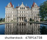 New York State Capitol Building reflection from East Capitol Park in Albany. New York