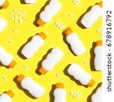 sunscreen bottles arranged on a ... | Shutterstock . vector #678916792