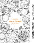pub food frame vector... | Shutterstock .eps vector #678918022