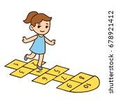 cute little girl playing... | Shutterstock .eps vector #678921412