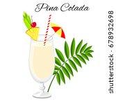 pina colada cocktail cartoon... | Shutterstock . vector #678932698