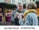 mature couple are drinking hot... | Shutterstock . vector #678933706