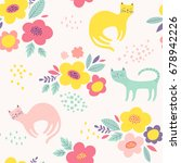 Stock vector cute vector pattern with flowers and cats seamless floral background 678942226