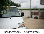 a wiper on a white car mirror | Shutterstock . vector #678951958