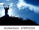 silhouette monk on the mountain ... | Shutterstock . vector #678952102
