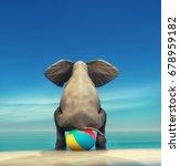 an elephant on a beach ball on... | Shutterstock . vector #678959182