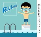 little boy going to jump into... | Shutterstock .eps vector #678959692