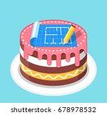 birthday cake for architect | Shutterstock .eps vector #678978532