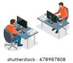 isometric young programmer... | Shutterstock .eps vector #678987808