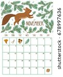 vector monthly calendar with... | Shutterstock .eps vector #678997636