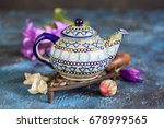 ceramic teapot with multi... | Shutterstock . vector #678999565