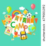 themed summer camp poster in... | Shutterstock . vector #679001392