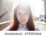 grumpy stubborn young woman... | Shutterstock . vector #679002466